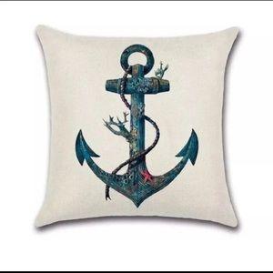 Anchor Flax Linen Pillow Cover